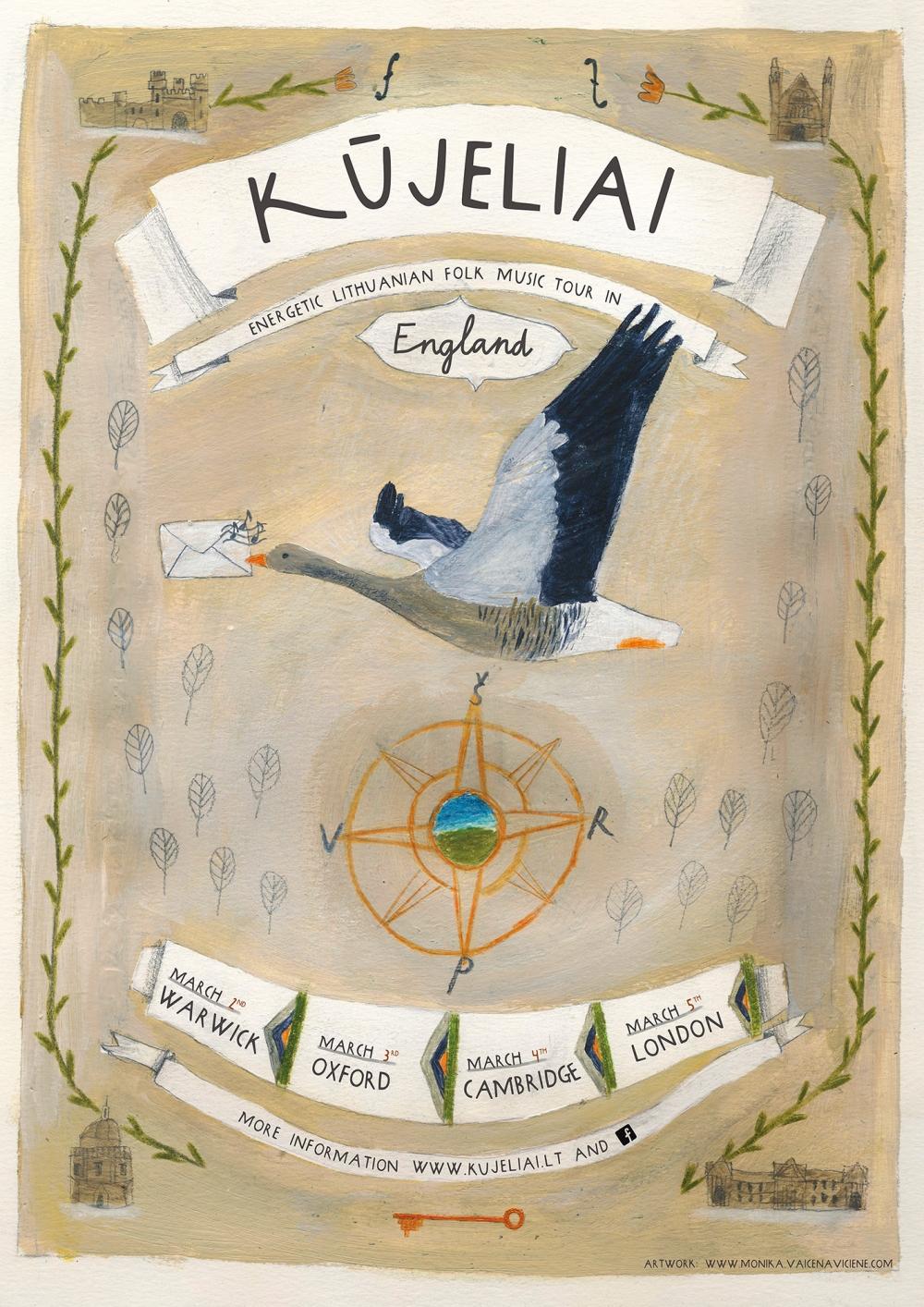 Kūjeliai Tour in England Poster